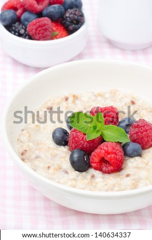 healthy breakfast - oatmeal with fresh berries, a bowl of berries in the background closeup