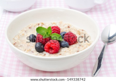 healthy breakfast - oatmeal with fresh berries in a bowl, horizontal closeup