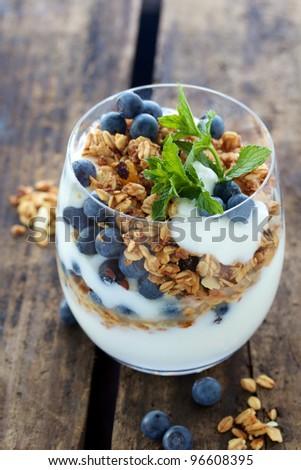Healthy Breakfast of Natural yogurt with berries and muesli