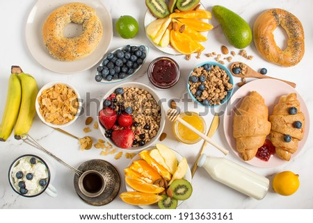 Healthy breakfast on a gray background. The concept of tasty and healthy food. Top view, copy space. fresh healthy breakfast