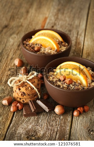 healthy breakfast on the wooden background