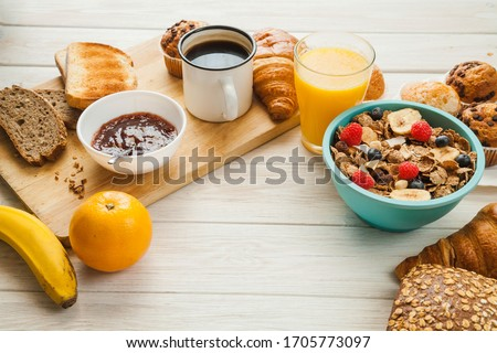 Healthy breakfast set on wooden background, top view, copy space Photo stock ©