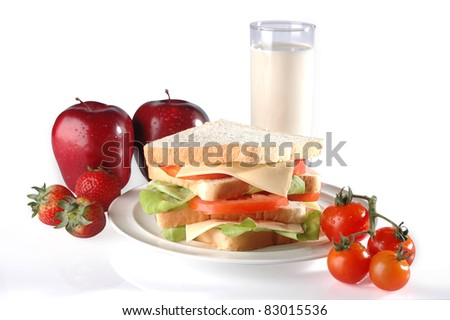 Healthy breakfast setting on isolated background