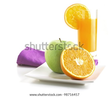 Healthy Breakfast with orange and apple isolated on white background
