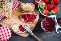 healthy breakfast with strawberry jam