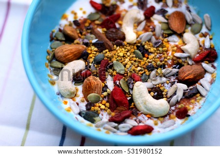 Healthy breakfast with super foods and nuts #531980152