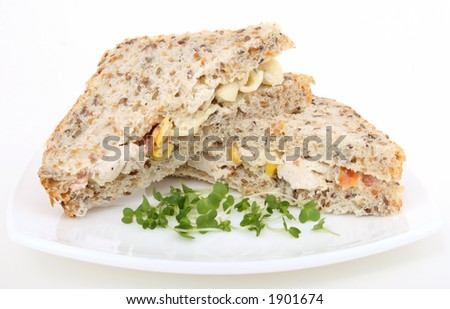 healthy brown bread salad sandwich isolated on white
