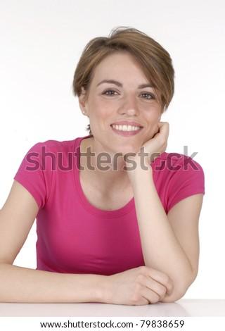 Healthy caucasian young woman portrait.
