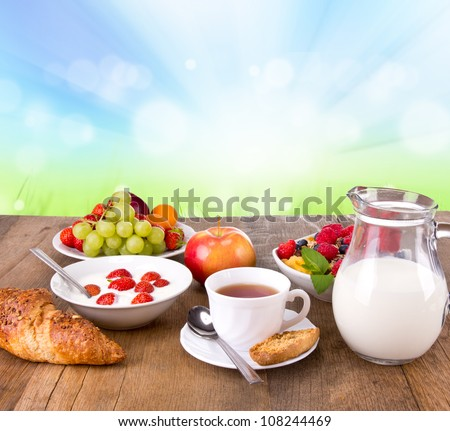 Healthy cereals breakfast with nature blur background
