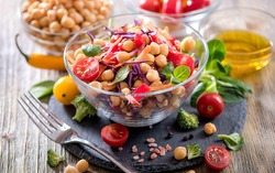 Healthy chickpea vegan salad, diet, vegetarian, vegan food, vitamin snack