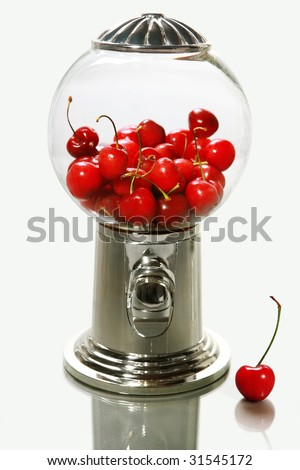 Healthy choice (glass snack dispenser with cherries) on a gray background