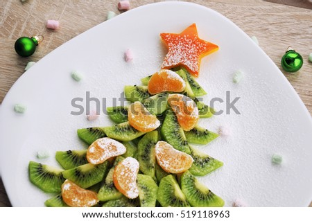 Healthy Christmas party dessert - New Year food background