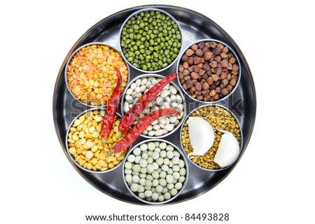 Healthy colorful raw food grains of India