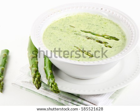 Healthy creamy soup with asparagus.Selective focus Stock photo ©