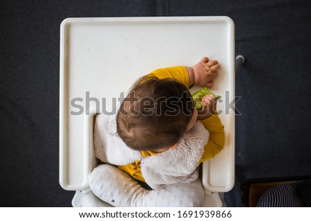 Healthy cute caucasian baby boy have, eat vegan raw supplementary food at home in his highchair. Vegan infant concept. Top above, flat lay view Stock foto ©
