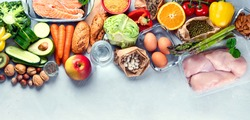 Healthy diet eating plan. Meal planning. Slimming and weigh loss concept. Top view. Flat lay