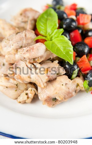Healthy Dinner of Grilled Chicken and Blueberry Salsa