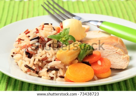 Healthy dish of mixed rice, chicken meat  and vegetables