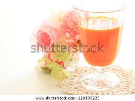 Healthy drink, carrot juice - stock photo