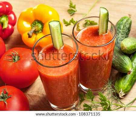 Healthy drink, vegetable juice, studio shot - stock photo
