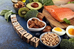healthy eating and diet concept - natural rich in protein food on table with wooden letter protein