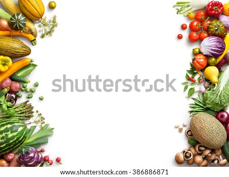 Healthy eating background. Food photography different fruits and vegetables isolated white background. Copy space. High resolution product #386886871