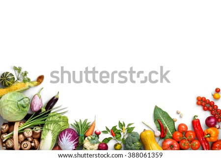 Healthy eating background. Food photography different fruits and vegetables isolated white background. Copy space. High resolution product #388061359