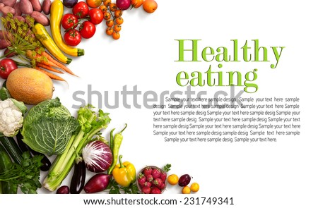 Healthy eating background / studio photo of different fruits and vegetables on white backdrop