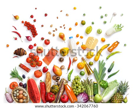 Healthy eating background / studio photography of different fruits and vegetables isoleted on white backdrop, top view. High resolution product.