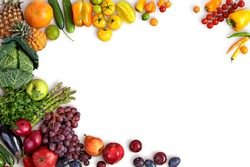 Healthy eating background / studio photography of different fruits and vegetables on white backdrop