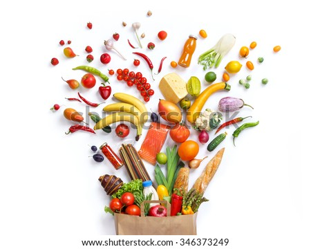 Healthy eating background / studio photography of different fruits and vegetables on white backdrop. Healthy food background, top view. High resolution product, #346373249