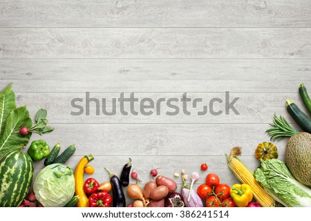 Healthy eating background / studio photography of different fruits and vegetables on white wooden table