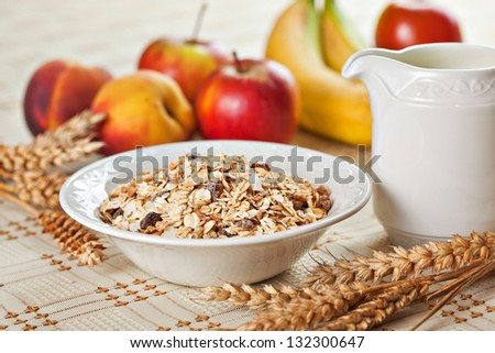 Healthy eating breakfast low calories bowl of swiss muesli with fruits and milk