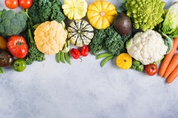 Healthy eating, colorful rainbow vegetables on the light grey background, copy space for text below, selective focus