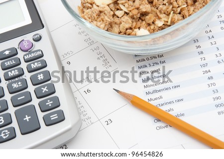 Healthy eating concept - calendar with daily nutrition intake, nutrition chart, muesli in glass bowl and calculator.