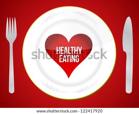 Healthy eating concept illustration design over a red background