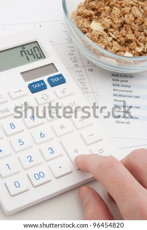 Healthy eating concept - man calculate his daily nutrition intake. Muesli in glass bowl, calculator, calendar and nutrition chart.