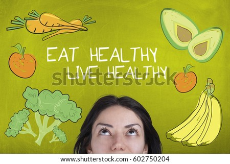 Healthy eating food lifestyle concept with fruits vegetables and female #602750204