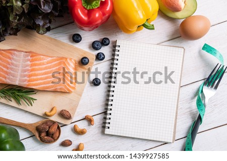 Healthy eating food with notebook and copy space, Ketogenic diet concept, Top view #1439927585