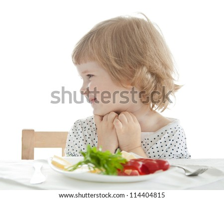 Healthy eating for a pretty little girl isolated on white - stock photo