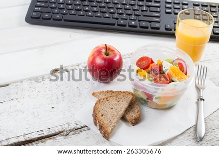 Healthy eating for lunch to work. Food in the office
