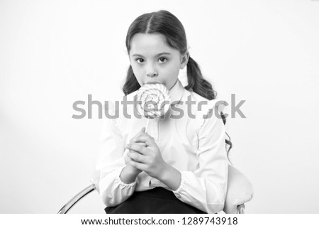 healthy eating. healthy eating and dieting concept. girl dont like healthy eating. healthy eating of little girl with lollipop. enjoying life.