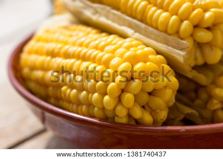 Healthy eating, healthy food, cooked organic sweetcorn - homemade cooked corn