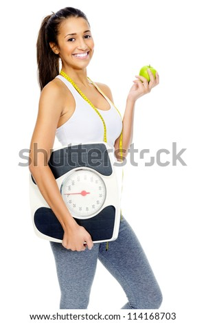 healthy eating leads to weightloss. woman happy isolated on white background.