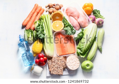 Healthy eating plan. Diet and meal planning. Top view. Flat lay #1241869732