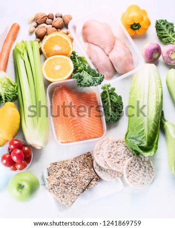 Healthy eating plan. Diet and meal planning. Top view. Flat lay #1241869759