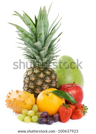 Healthy Eating. Seasonal organic raw fruit. Isolated over white background