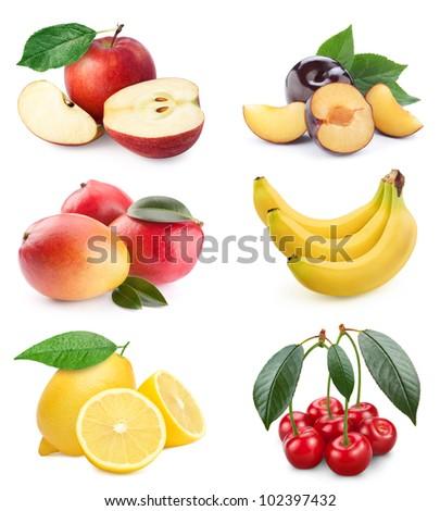 Healthy Eating. Seasonal organic raw fruit. Isolated over white background