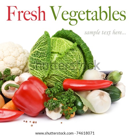 Healthy Eating. Seasonal organic raw vegetables. Isolated over white background