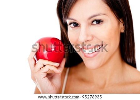 Healthy eating woman holding a red apple - isolated over a white background
